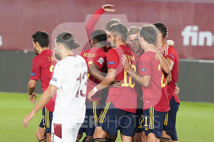 Spain's players celebrate goal during UEFA Nations League 2020 League Phase match. October 10,2020.(ALTERPHOTOS/Acero)