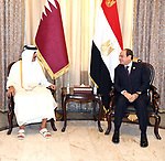 Egyptian President Abdel Fattah al-Sisi, meets with Prince Tamim bin Hamad Al Thani, Emir of the State of Qatar in the Iraqi capital, Baghdad on August 28, 2021. Photo by Egyptian President Office