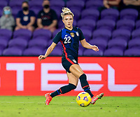 ORLANDO, FL - FEBRUARY 24: Kristie Mewis #22 of the USWNT dribbles during a game between Argentina and USWNT at Exploria Stadium on February 24, 2021 in Orlando, Florida.