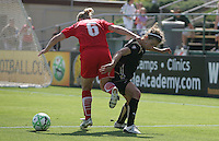Lori Lindsey and Kimberly Yokers. Washington Freedom defeated FC Gold Pride 4-3 at Buck Shaw Stadium in Santa Clara, California on April 26, 2009.
