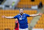 St Johnstone v St Mirren…16.01.21   McDiarmid Park     SPFL<br />Chris Kane celebrates his goal<br />Picture by Graeme Hart.<br />Copyright Perthshire Picture Agency<br />Tel: 01738 623350  Mobile: 07990 594431