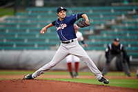 New Hampshire Fisher Cats starting pitcher Conner Greene (22) delivers a pitch during a game against the Altoona Curve on May 11, 2017 at Peoples Natural Gas Field in Altoona, Pennsylvania.  Altoona defeated New Hampshire 4-3.  (Mike Janes/Four Seam Images)