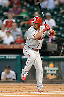 Philadelphia Phillies outfielder Shane Victorino #8 at bat during the Major League Baseball game against the Houston Astros at Minute Maid Park in Houston, Texas on September 12, 2011. Houston defeated Philadelphia 5-1.  (Andrew Woolley/Four Seam Images)