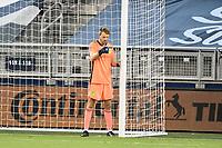 KANSAS CITY, KS - OCTOBER 11: Joe Willis #1 of Nashville SC lines up the wall during a game between Nashville SC and Sporting Kansas City at Children's Mercy Park on October 11, 2020 in Kansas City, Kansas.