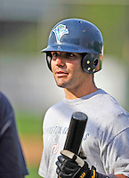3 September 2008: Vermont Lake Monsters' infielder James Keithley awaits his turn in the batting cage prior to a NY Penn-League game against the Tri-City Valley Cats at Centennial Field in Burlington, Vermont. The Lake Monsters defeated the Valley Cats 6-5 in extra innings. Mandatory Photo Credit: Ed Wolfstein Photo