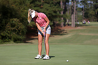CHAPEL HILL, NC - OCTOBER 13: Lauren Peter of the Ohio State University sinks a putt at UNC Finley Golf Course on October 13, 2019 in Chapel Hill, North Carolina.