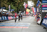 Mads Pedersen (DEN/Trek-Segafredo) surprises the cycling world by becoming the 2019 UCI World Champion by beating Matteo Trentin (ITA/Mitchelton-Scott) & Stefan Küng (SUI/Groupama-FDJ) in a sprint to the finish<br /> <br /> Elite Men Road Race from Leeds to Harrogate (shortened to 262km)<br /> 2019 UCI Road World Championships Yorkshire (GBR)<br /> <br /> ©kramon