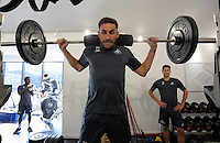 Pictured: Angel Rangel lifts weights in the gym Wednesday 14 September 2016<br />Re: Swansea City FC training at Fairwood, Wales, UK