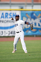 Princeton Rays left fielder Tony Pena (7) throws from the outfield during the first game of a doubleheader against the Johnson City Cardinals on August 17, 2018 at Hunnicutt Field in Princeton, Virginia.  Johnson City defeated Princeton 6-4.  (Mike Janes/Four Seam Images)