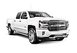 White 2017 Chevrolet Silverado 1500 Pickup Truck with High Country trim isolated on white background with clipping path Image © MaximImages, License at https://www.maximimages.com