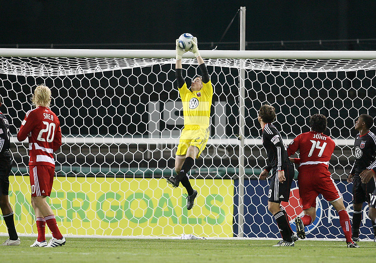 Troy Perkins #23 of D.C. United makes a save during a US Open Cup match against F.C. Dallas on April 28 2010, at RFK Stadium in Washington D.C. United won 4-2.