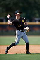 Pittsburgh Pirates third baseman Patrick Dorrian (67) throws to first base during a Florida Instructional League game against the New York Yankees on September 25, 2018 at Yankee Complex in Tampa, Florida.  (Mike Janes/Four Seam Images)