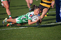 Manawatu's Lucy Brown scores during the Farah Palmer Cup women's rugby match between Manawatu Cyclones and Taranaki Whio at CET Stadium in Palmerston North, New Zealand on Saturday, 24 July 2021 Photo: Dave Lintott / lintottphoto.co.nz