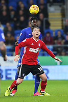 Joe Garner of Ipswich is marked by Bruno Ecuele Manga of Cardiff City during the Sky Bet Championship match between Cardiff City and Ipswich Town at The Cardiff City Stadium, Cardiff, Wales, UK. Tuesday 31 October 2017