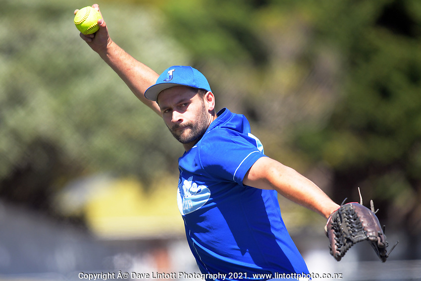 Action from the Wellington Intercity Premier 1 men's softball match between Marist and Johnsonville at Fraser Park in Lower Hutt, New Zealand on Saturday, 20 February 2021. Photo: Dave Lintott / lintottphoto.co.nz