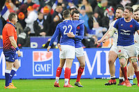 Matthieu JALIBERT of France and Anthony BOUTHIER of France celebrate the victory during the Six Nations match Tournament between France and England at Stade de France on February 2, 2020 in Paris, France. (Photo by Sandra Ruhaut/Icon Sport) - Stade de France - Paris (France)