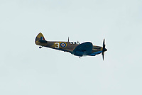 BNPS.co.uk (01202 558833)<br /> Pic: Graham Hunt/BNPS<br /> Date: 2nd September 2021.<br /> <br /> The Spitfire from the Battle of Britain memorial flight in action on day 1 of Bournemouth Air Festival in Dorset on a warm overcast day.