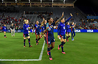ORLANDO, FL - MARCH 05: Crystal Dunn #19 and the USWNT celebrate during a game between England and USWNT at Exploria Stadium on March 05, 2020 in Orlando, Florida.