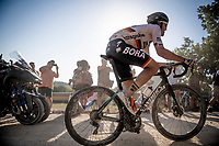Winner of the last UCI (World Tour) race before the lockdown (Paris-Nice), & German champion Maximilian Schachmann (DEU/Bora-Hansgrohe) on his way to yet another podium place (3rd).<br /> <br /> 14th Strade Bianche 2020<br /> Siena > Siena: 184km (ITALY)<br /> <br /> delayed 2020 (summer!) edition because of the Covid19 pandemic > 1st post-Covid19 World Tour race after all races worldwide were cancelled in march 2020 by the UCI