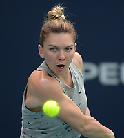 MIAMI GARDENS, FL - MARCH 16: Simona Halep on the practice court prior to the start of the Miami Open Tennis Tournament at Hard Rock Stadium on March 16, 2019 in Miami Gardens, Florida.<br /> <br /> People: Simona Halep