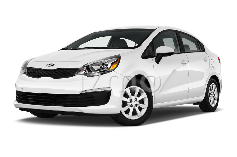 Stock pictures of low aggressive front three quarter view of 2017 KIA Rio LX-AT 4 Door Sedan Low Aggressive