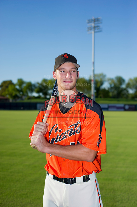 AZL Giants 2017 Draft Pick Jacob Gonzalez (52) poses for a photo prior to a game against the AZL Rangers on August 22 at Scottsdale Stadium in Scottsdale, Arizona. AZL Rangers defeated the AZL Giants 7-5. (Zachary Lucy/Four Seam Images via AP Images)