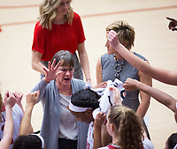 STANFORD, CA - February 22, 2019: Tara VanDerveer at Maples Pavilion. The Stanford Cardinal defeated the Arizona Wildcats 56-54.