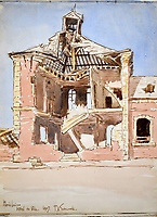 BNPS.co.uk (01202 558833)<br /> Pic: StroudAuctions/BNPS<br /> <br /> Pictured: Captain Theodore painted landmarks including churches which were reduced to rubble deadly barrages.<br /> <br /> The poignant sketchbook of a World War One surgeon has been unearthed a century later.<br /> <br /> Captain Theodore Howard Somervell, of the Royal Medical Corps, treated hundreds of wounded Tommies in a field hospital at the Battle of the Somme. <br /> <br /> He was one of just four surgeons working flat-out in a tent, as scores of casualties lay dying on stretchers outside on the bloodiest in British military history.<br /> <br /> There is a sombre pencil sketch of a soldier on the operating table surrounded by a nurse and doctors. Another watercolour shows the bodies of soldiers strewn on a boggy Western Front battlefield.<br /> <br /> Capt Somervell, who was Mentioned In Despatches, drew landmarks including churches which were reduced to rubble in the deadly barrage. He also took rare photos of life on the frontline, including some taken inside an operating theatre. His sketchbook is being sold by a direct descendant with Stroud Auctions, of Gloucs.