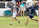 GER - Hannover, Germany, May 30: During the Men Lacrosse Playoffs 2015 match between HLC Rot-Weiss Muenchen (blue) and KKHT Schwarz-Weiss Koeln (weiss) on May 30, 2015 at Deutscher Hockey-Club Hannover e.V. in Hannover, Germany. Final score 5:6. (Photo by Dirk Markgraf / www.265-images.com) *** Local caption *** Stefan Goeser #77 of KKHT Schwarz-Weiss Koeln, Thilo Siegel #11 of HLC Rot-Weiss Muenchen