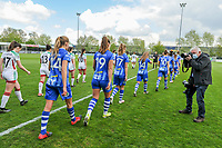 the players entering the field before a female soccer game between AA Gent Ladies and Oud Heverlee Leuven on the fourth matchday of play off 1 in the 2020 - 2021 season of Belgian Scooore Womens Super League , saturday 1 st of May 2021  in Oostakker , Belgium . PHOTO SPORTPIX.BE | SPP | STIJN AUDOOREN
