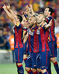 FC Barcelona's Daniel Alves (l) and Javier Mascherano celebrate the victory in the Spanish King's Cup Final match. May 30,2015. (ALTERPHOTOS/Acero)