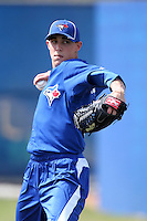 Toronto Blue Jays pitcher Aaron Sanchez throws in the bullpen during minor league practice at the Englebert Minor League Complex on February 27, 2012 in Dunedin, Florida.  (Mike Janes/Four Seam Images)