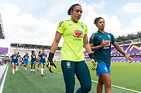 ORLANDO, FL - FEBRUARY 18: Leticia #22 of Brazil walks off the field before a game between Argentina and Brazil at Exploria Stadium on February 18, 2021 in Orlando, Florida.