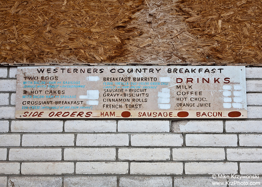 "Abandoned ""Drive-Inn"" Restaurant Menu in Tucumcari, NM"