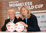 Gordon Strachan and Anna Signeul at the draw for the Homeless World Cup today