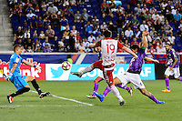 Harrison, NJ - Wednesday Aug. 03, 2016: Cristian Alvarez, Alex Muyl, Jose Pinto Samayoa during a CONCACAF Champions League match between the New York Red Bulls and Antigua at Red Bull Arena.