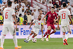 Ismaeil Matar Aljneibi of United Arab Emirates (C) fights for the ball with Karim Boudiaf of Qatar (R) during the AFC Asian Cup UAE 2019 Semi Finals match between Qatar (QAT) and United Arab Emirates (UAE) at Mohammed Bin Zaied Stadium  on 29 January 2019 in Abu Dhabi, United Arab Emirates. Photo by Marcio Rodrigo Machado / Power Sport Images