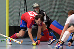 GER - Mannheim, Germany, November 28: During the 1. Bundesliga Sued Herren indoor hockey match between Mannheimer HC (red) and TG Frankenthal (white) on November 28, 2015 at Irma-Roechling-Halle in Mannheim, Germany. Final score 7-7 (HT 3-3). (Photo by Dirk Markgraf / www.265-images.com) *** Local caption *** Philipp Collot #13 of Mannheimer HC