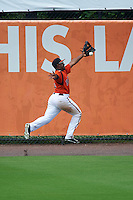 Bowie Baysox left fielder Quincy Latimore (22) during the first game of a doubleheader against the Akron RubberDucks on June 5, 2016 at Prince George's Stadium in Bowie, Maryland.  Bowie defeated Akron 6-0.  (Mike Janes/Four Seam Images)