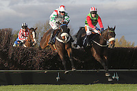 Race winner Honest John ridden by Tom Scudamore (R) and Total Rebellion ridden by Henry Brooke in jumping action during the TurfTV Novices Handicap Chase - Horse Racing at Huntingdon Racecourse, Brampton, Cambridgeshire - 13/11/12 - MANDATORY CREDIT: Gavin Ellis/TGSPHOTO - Self billing applies where appropriate - 0845 094 6026 - contact@tgsphoto.co.uk - NO UNPAID USE.