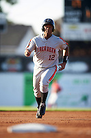 Aberdeen Ironbirds first baseman Ronarsy Ledesma (12) running the bases during a game against the Batavia Muckdogs on July 14, 2016 at Dwyer Stadium in Batavia, New York.  Aberdeen defeated Batavia 8-2. (Mike Janes/Four Seam Images)