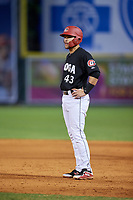 Chattanooga Lookouts designated hitter Zander Wiel (43) leads off first base during a game against the Jackson Generals on May 9, 2018 at AT&T Field in Chattanooga, Tennessee.  Chattanooga defeated Jackson 4-2.  (Mike Janes/Four Seam Images)