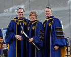 May 22, 2011; Mary Beth O'Brien receives an honorary doctor of laws degree at the 2011 Commencement ceremony...Photo by Joe Raymond/University of Notre Dame