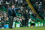 Celtic v St Johnstone…18.02.18…   Celtic Park    SPFL<br />Tommy Wright shouts instructions as Brendan Rodgers looks on<br />Picture by Graeme Hart. <br />Copyright Perthshire Picture Agency<br />Tel: 01738 623350  Mobile: 07990 594431