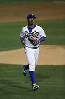 Christian Santana (27) of the Rancho Cucamonga Quakes during a game against the Lancaster JetHawks at LoanMart Field on September 9, 2017 in Rancho Cucamonga, California. Lancaster defeated Rancho Cucamonga, 12-7. (Larry Goren/Four Seam Images)
