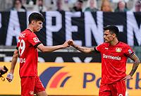 23rd May 2020, BORUSSIA-PARK, North Rhine-Westphalia, Germany; Bundesliga football, Borussia Moenchengladbach versus Bayer Leverkusen; Kai Havertz (Leverkusen) celebrates with Charles Aranguiz (Leverkusen)