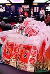 Bagged chips await distribution prior to play on day 2.