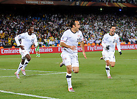 Landon Donovan of USA celebrates the winning goal with team mates. USA defeated Algeria 1-0 in stoppage time in the 2010 FIFA World Cup at Loftus Versfeld Stadium in Pretoria, Sourth Africa, on June 23th, 2010.