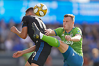 SAN JOSE, CA - SEPTEMBER 30: Cristian Espinoza #10 of the San Jose Earthquakes shields himself as Brad Smith #11 of the Seattle Sounders FC plays the ball during a Major League Soccer (MLS) match between the San Jose Earthquakes and the Seattle Sounders on September 30, 2019 at Avaya Stadium in San Jose, California.