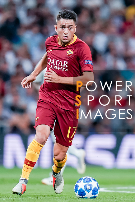 Cengiz Under of Roma in action during the UEFA Champions League 2018-19 match between Real Madrid and Roma at Estadio Santiago Bernabeu on September 19 2018 in Madrid, Spain. Photo by Diego Souto / Power Sport Images